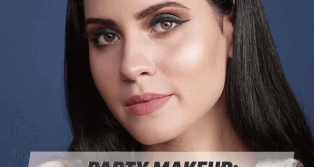 Party Makeup Blue Smokey Eyes