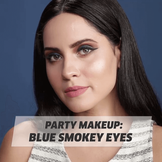 Party Makeup Blue Smokey Eyes